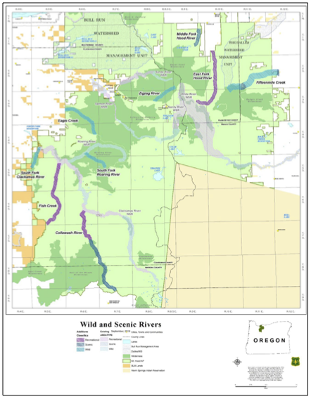 Map 1.  Wild and scenic rivers on the Mount Hood National Forest as of 2009. This map is a bit fuzzy, but dark green is designated wilderness, light green is other national forest, and the tan wedge in the southeast is Warm Springs Indian Reservation. Notice the mile-wide corridor for Fifteenmile Creek WSR (north half of the northeast quadrant) and the normal half-mile-wide corridors for most other WSRs. As the White WSR comes off of Mount Hood its actual channel often moves laterally  a mile or more, hence the very wide area along the upper White River. To make the most of the limited acres, the lower White River corridor is narrower than the norm. The same goes for the Salmon WSR. To protect the Salmon River meadows, the protected area is wider. To compensate the protected WSR corridor in the Salmon-Huckleberry Wilderness is very narrow. I'd hazard a guess that another ~120 miles of potential WSRs could be designated in the Sandy, Hood, and White watersheds, all of which arise on Mount Hood . Source: Mount Hood National Forest.