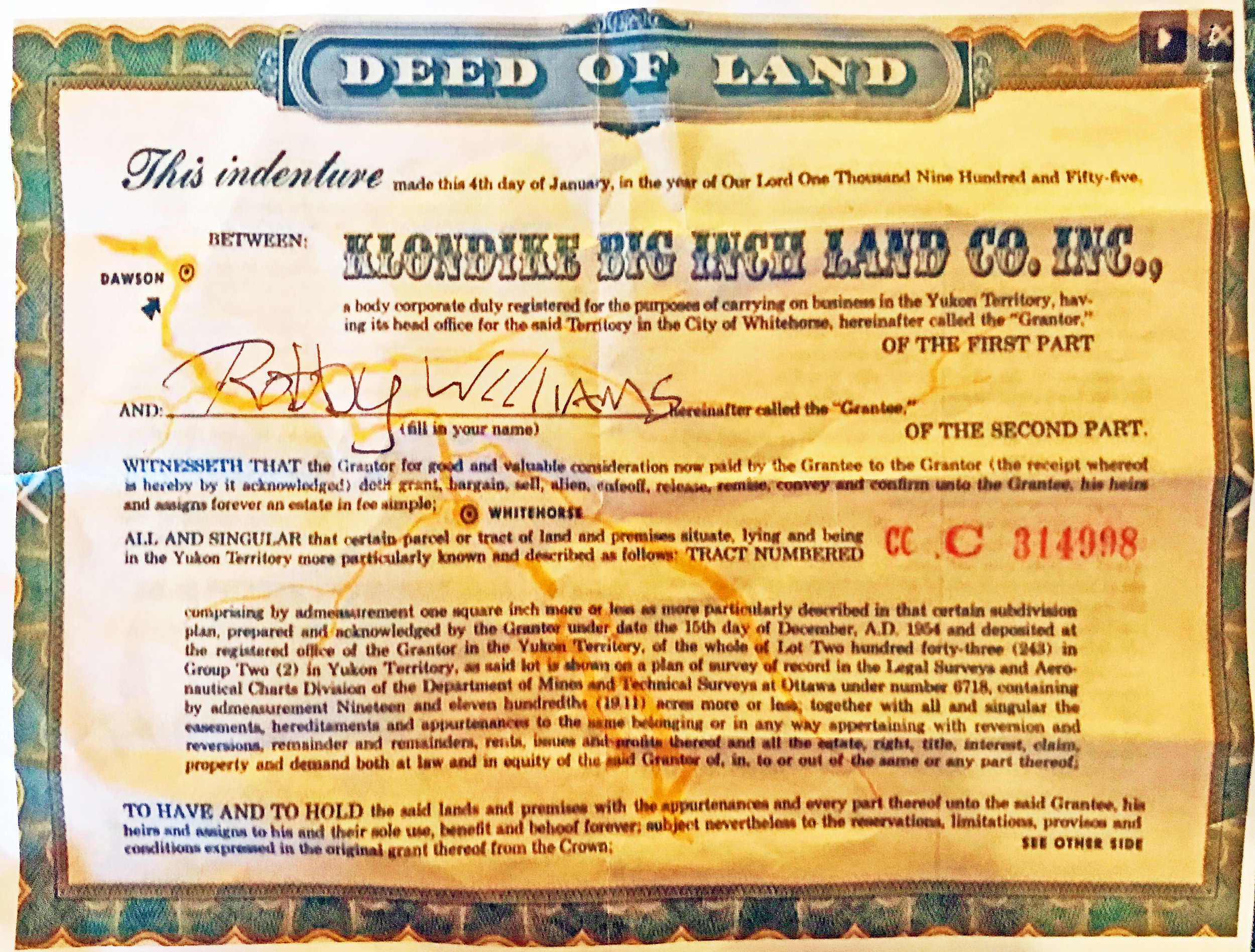 Rob Williams' Klondike Deed, 1957