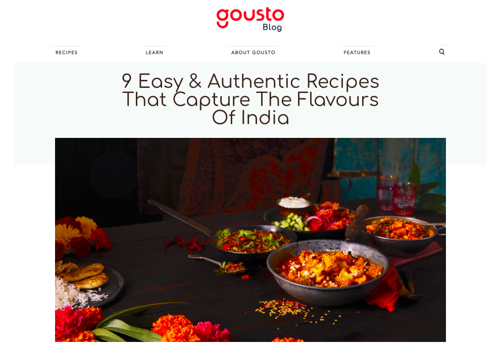 Blog piece for Gousto's new Taste of India range. Click to read the full article.