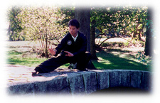Sifu Calvin Chin practicing Snake Creeps Down posture