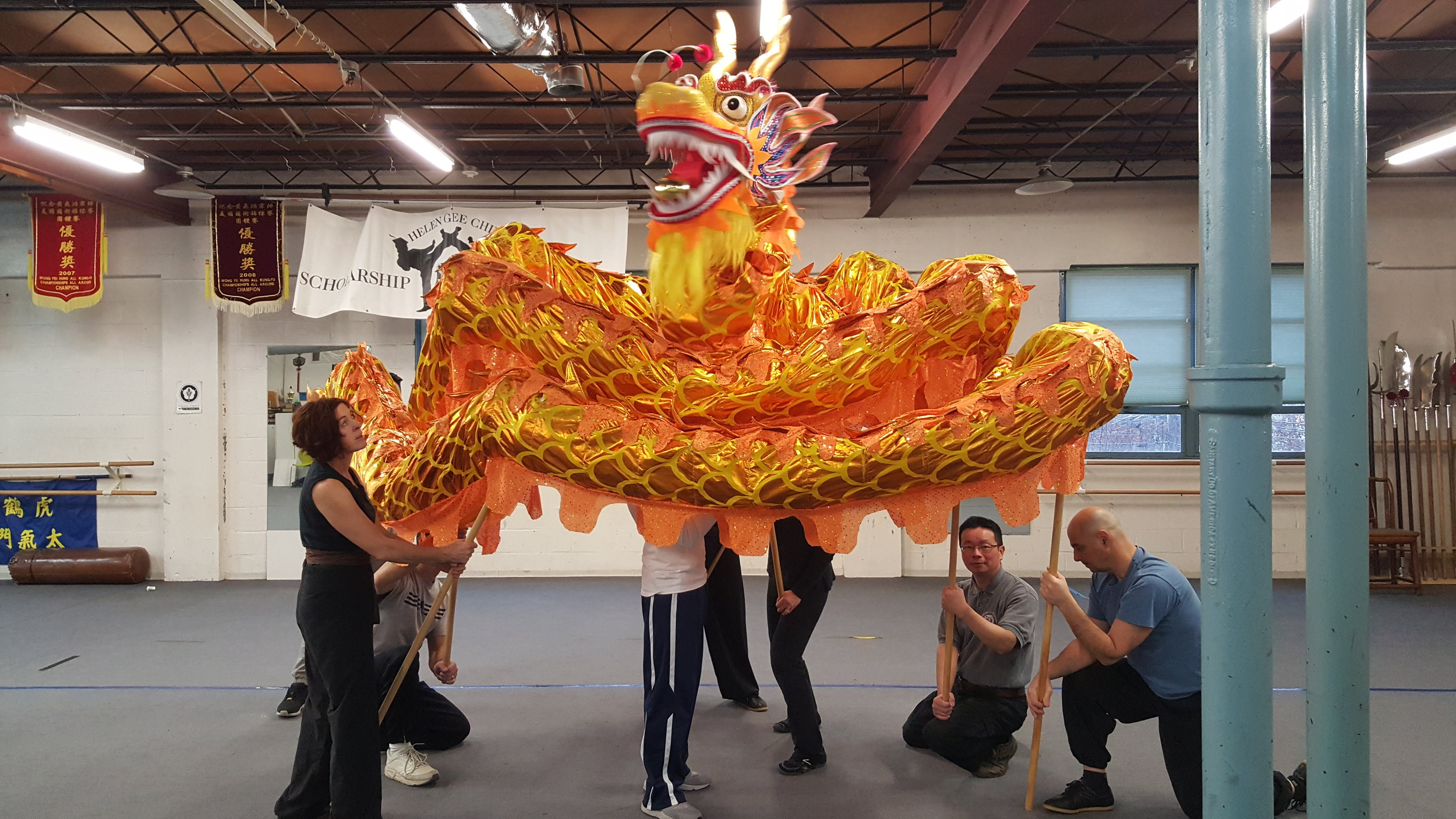 Dragon dance practice