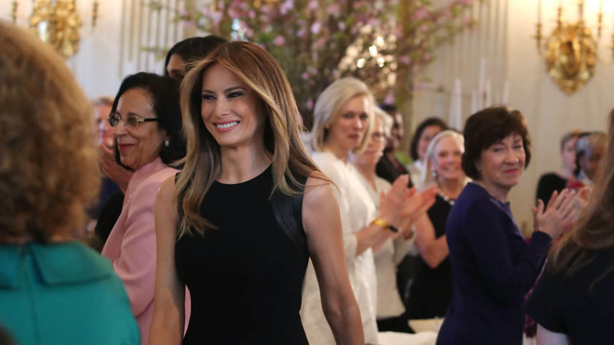 First Lady Melania Trump arrives at a luncheon she hosted to mark International Women's Day in the State Dining Room at the White House March 8, 2017. (Photo: Getty Images)