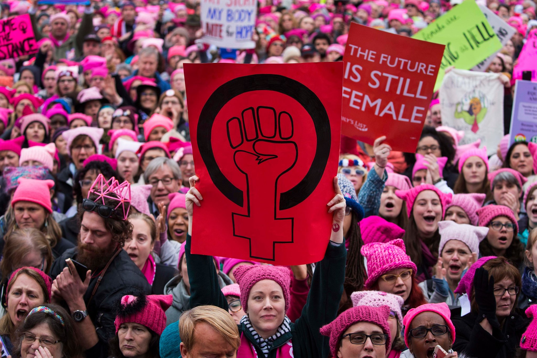 A sea of pink hats on march participants in Washington on Saturday, Jan. 21, 2017, the day after President Donald Trump's inauguration. (Photo: Ruth Fremson/The New York Times)