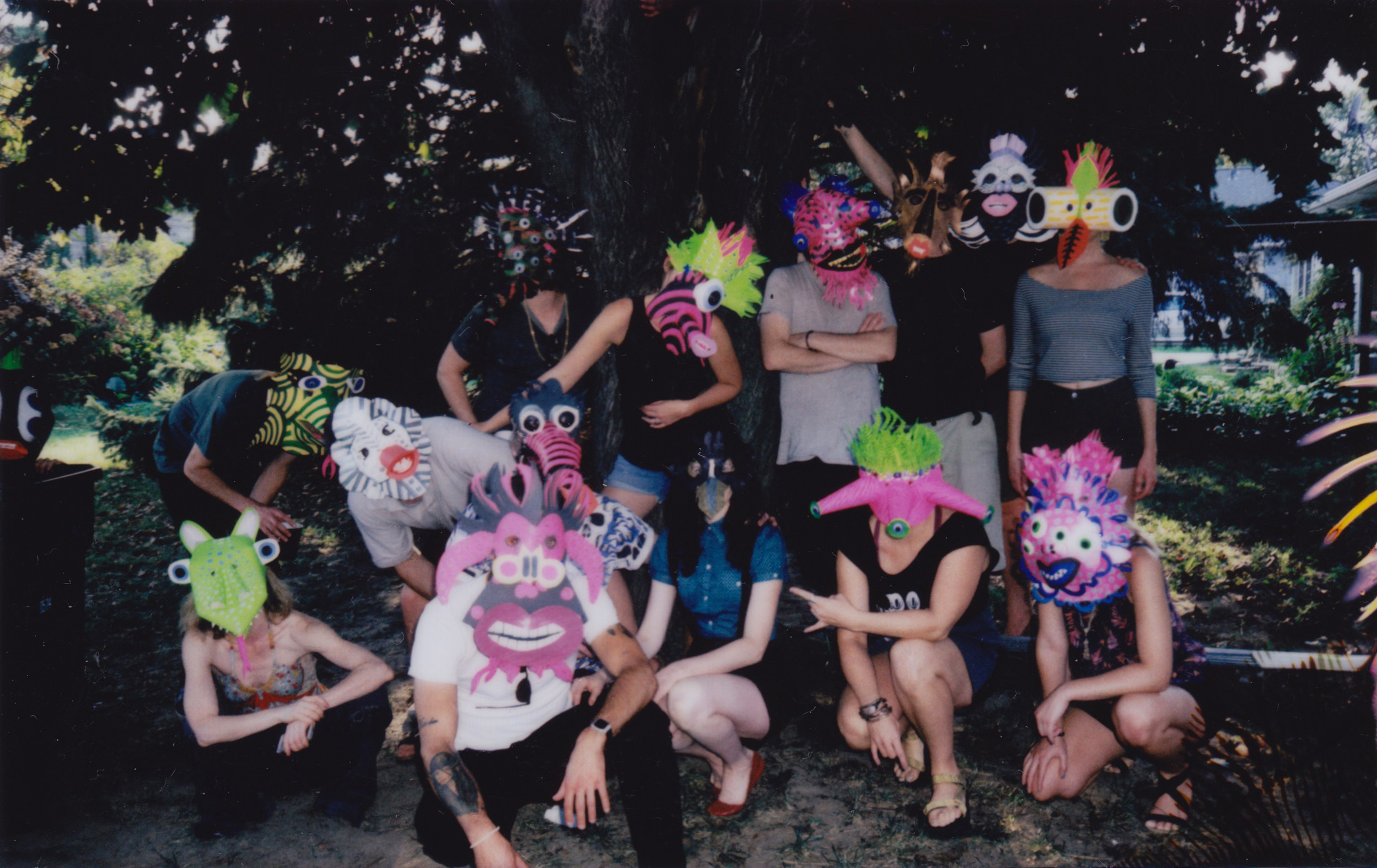 Polaroids from the  Witch Watch  music video shoot.  Masks by Molly Uravitch.