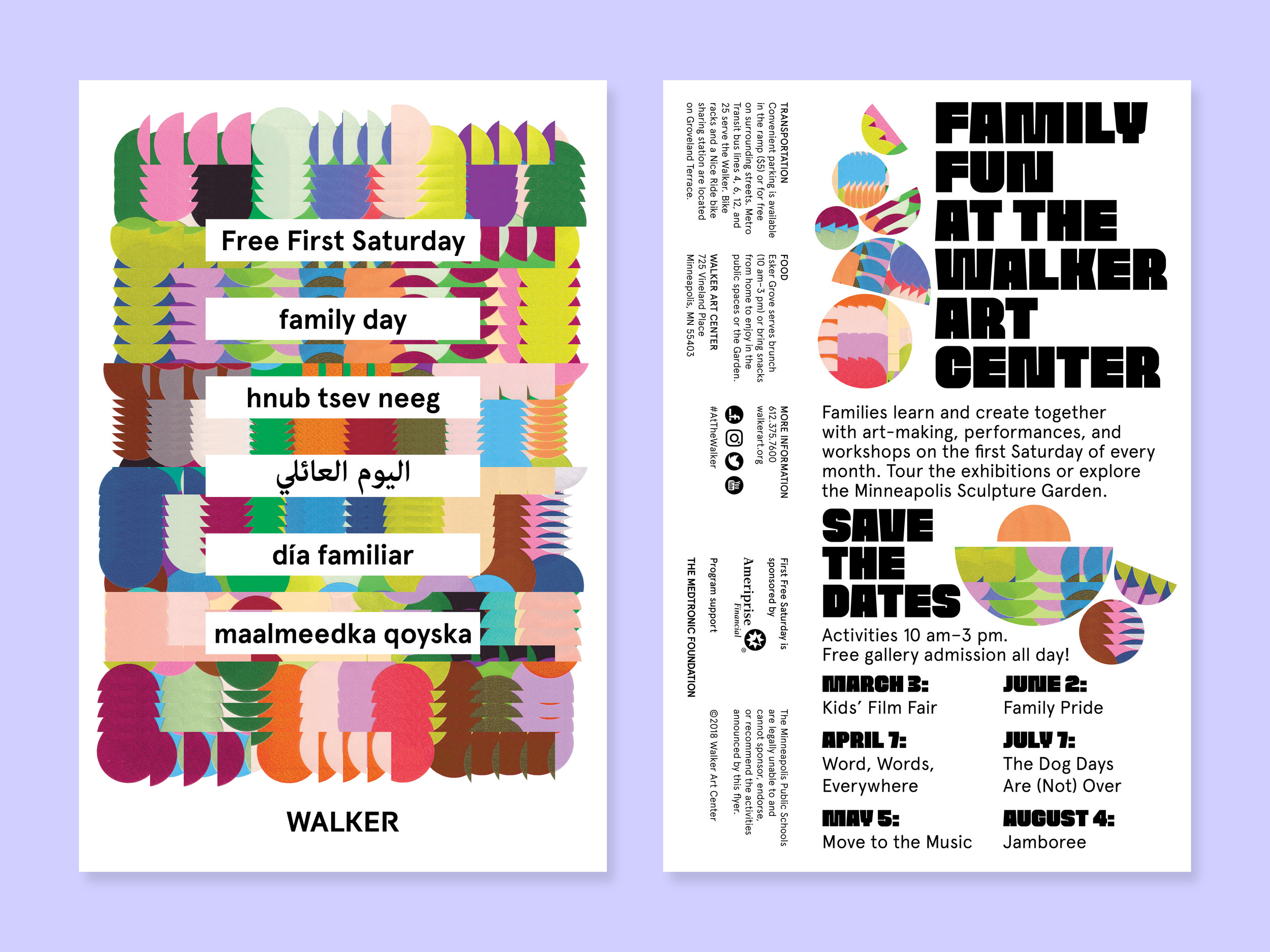 Postcard to advertise six months of Free First Saturday, the Walker Art Center's monthly family day.