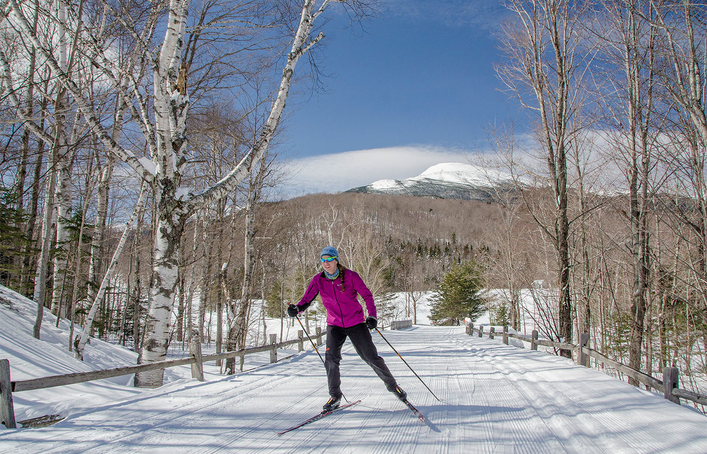 XC skiing in the shadow of Mt. Washington at Great Glen Trails Outdoor Center