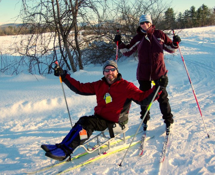 Patrick Standen cross country skiing on a sit ski