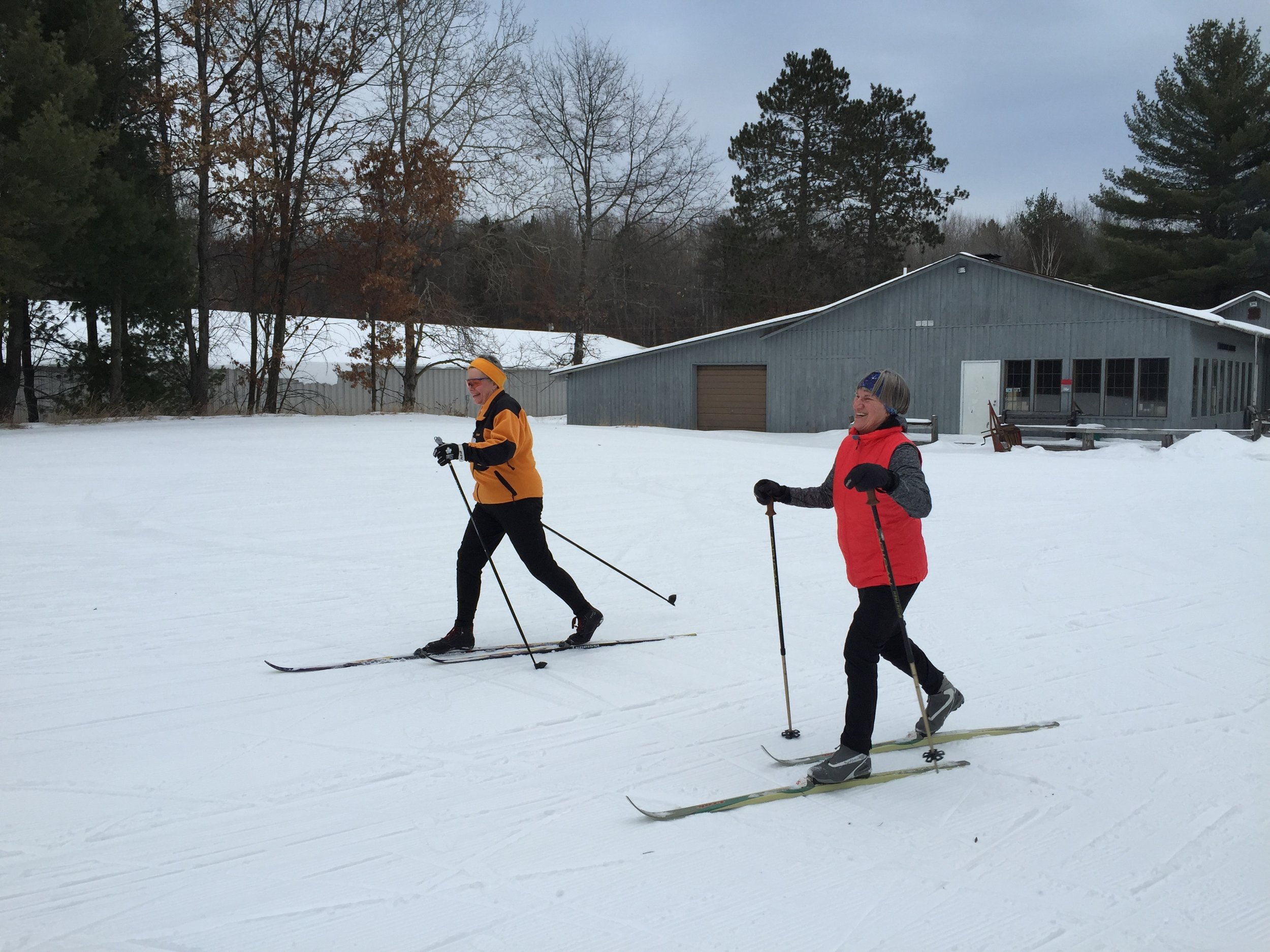 Two folks at Cross Country Ski Headquarters in Roscommon, MI