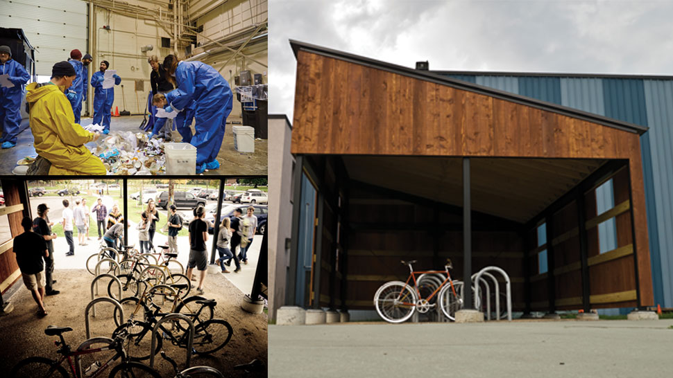 Burton Snowboards sustainability with employee waste-sort, bike commuting, and the bike garage