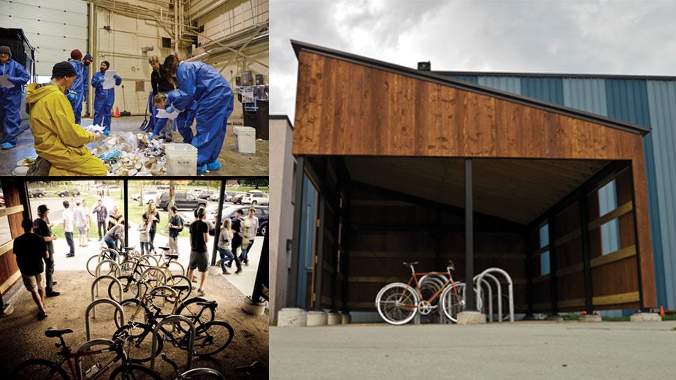Burton Snowboards sustainability with employee waste-sort, bike commuting, and the bike garage