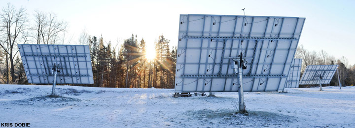 Solar panels that are trackers provide as much as 50% of Craftsbury Outdoor Center electricity