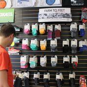 Retail display of Farm to Feet socks