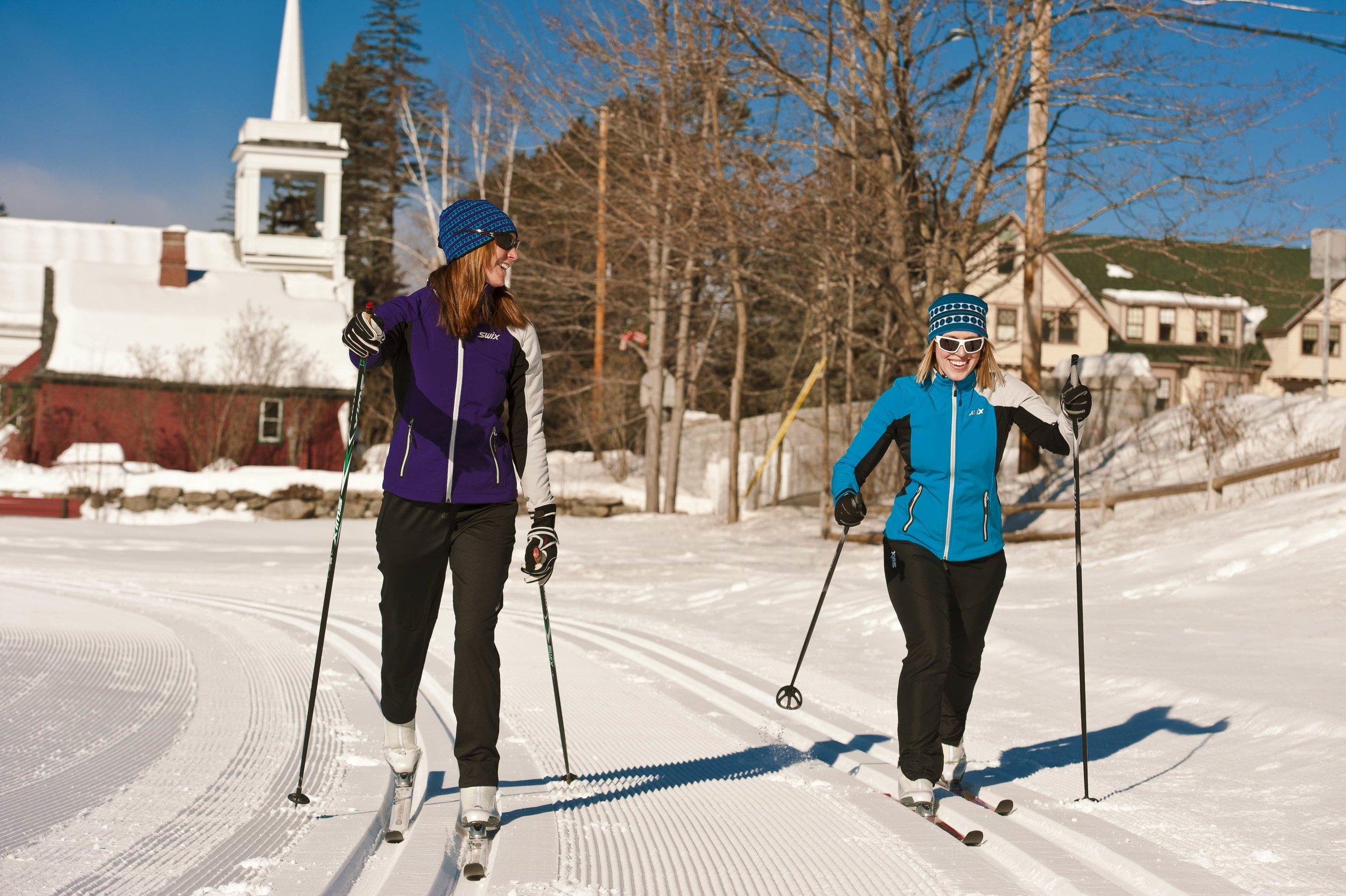 Morning ski on trails at Jackson, NH