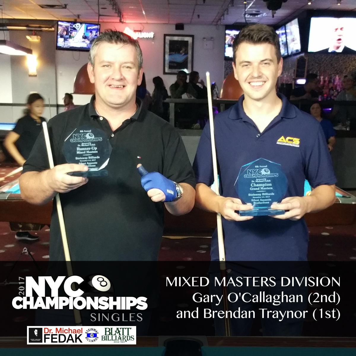 Mixed Masters L-R 1st Mike Salerno 2nd Emily Duddy