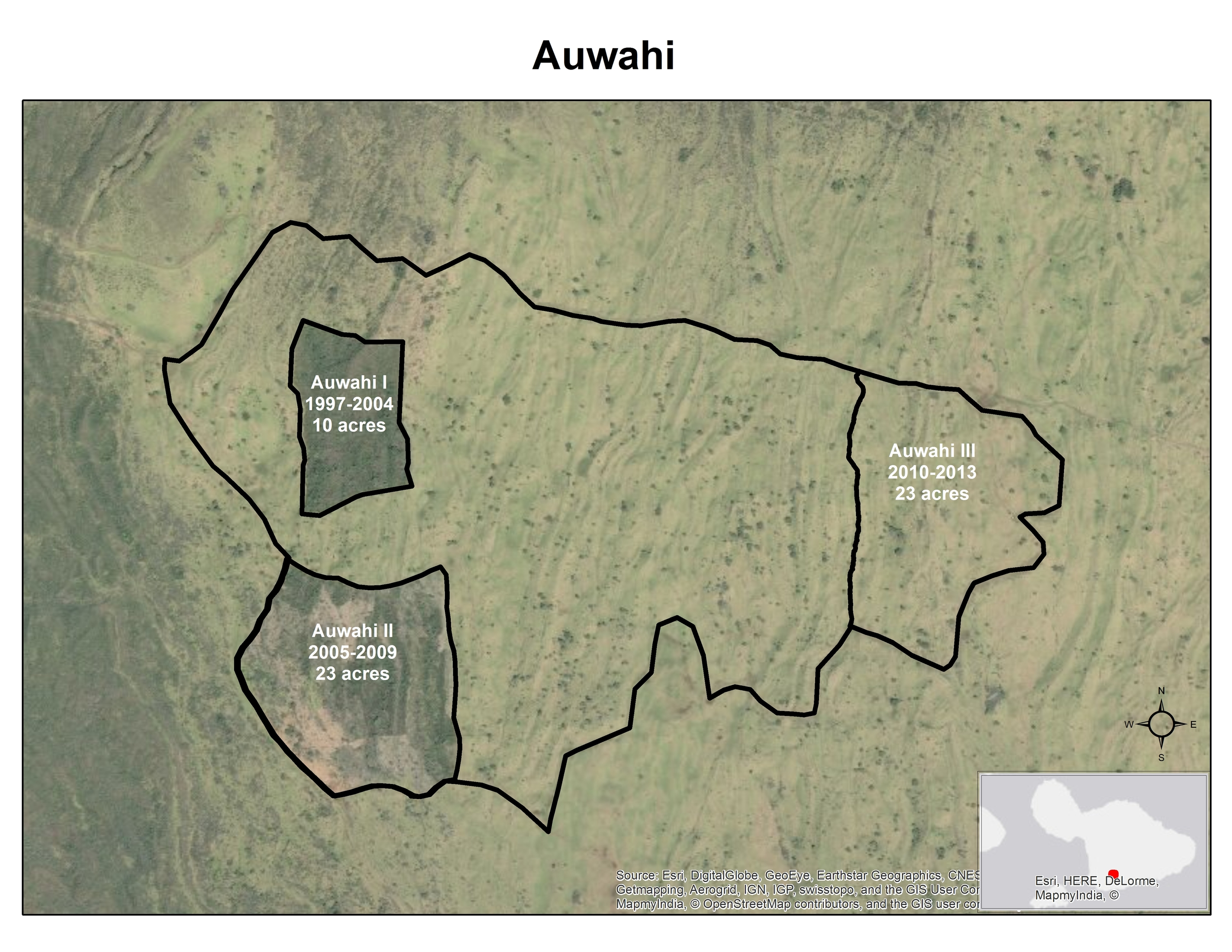 Aerial photograph of Auwahi forest with forest exclosures. Note continued loss of native forest trees in the past decades.