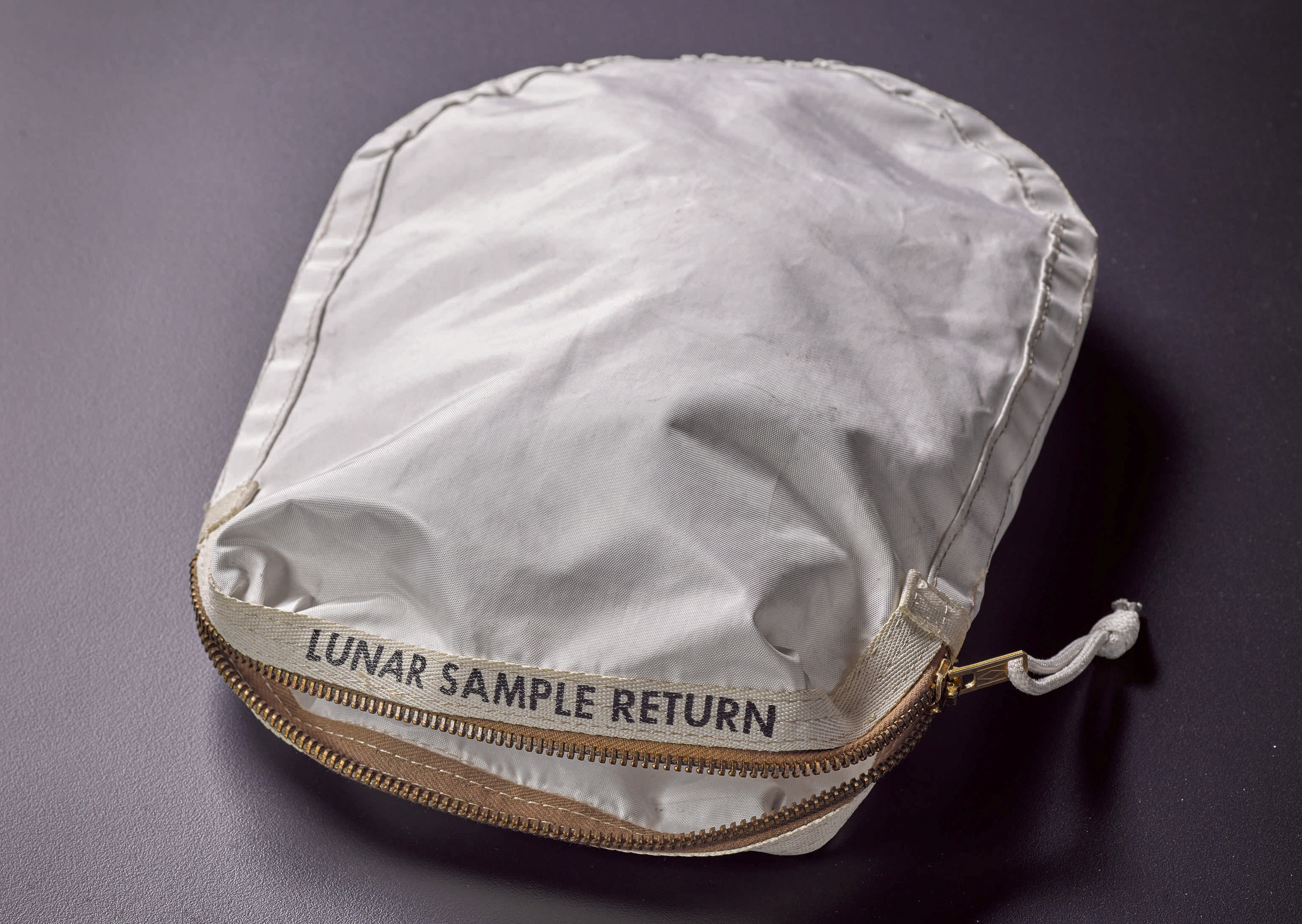 The original Lunar Sample Return bag used by Neil Armstrong on the Apollo 11 Moon Landing.