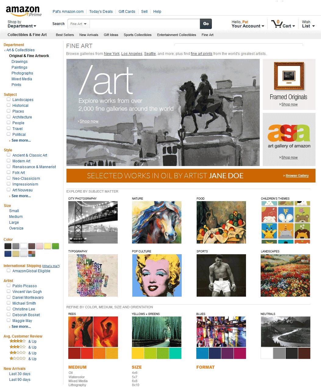 Amazon Art Storefront