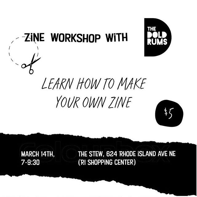 We are SO happy to make mini zines with YOU! Come hang out with us and learn how to make a one page zine at @thestew202 March 14th ✂️✨🥂😘