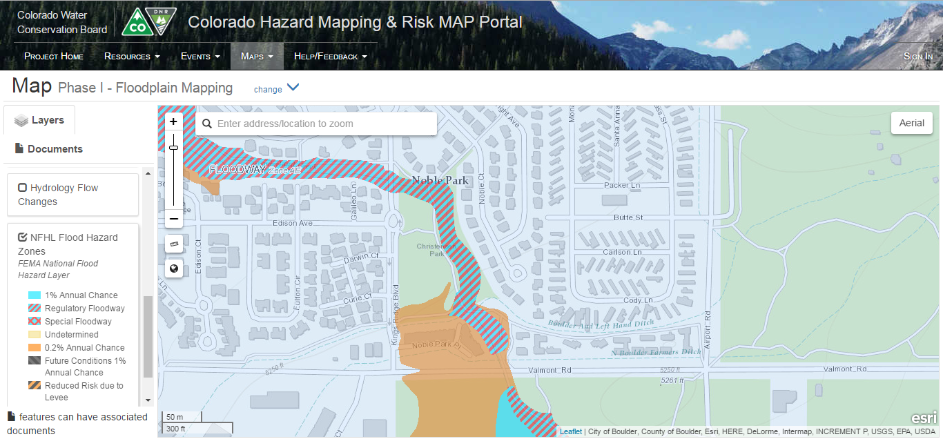 Example of    floodplain mapping efforts    conducted by the Colorado Water Conservation Board through the Colorado Hazard Mapping Program.