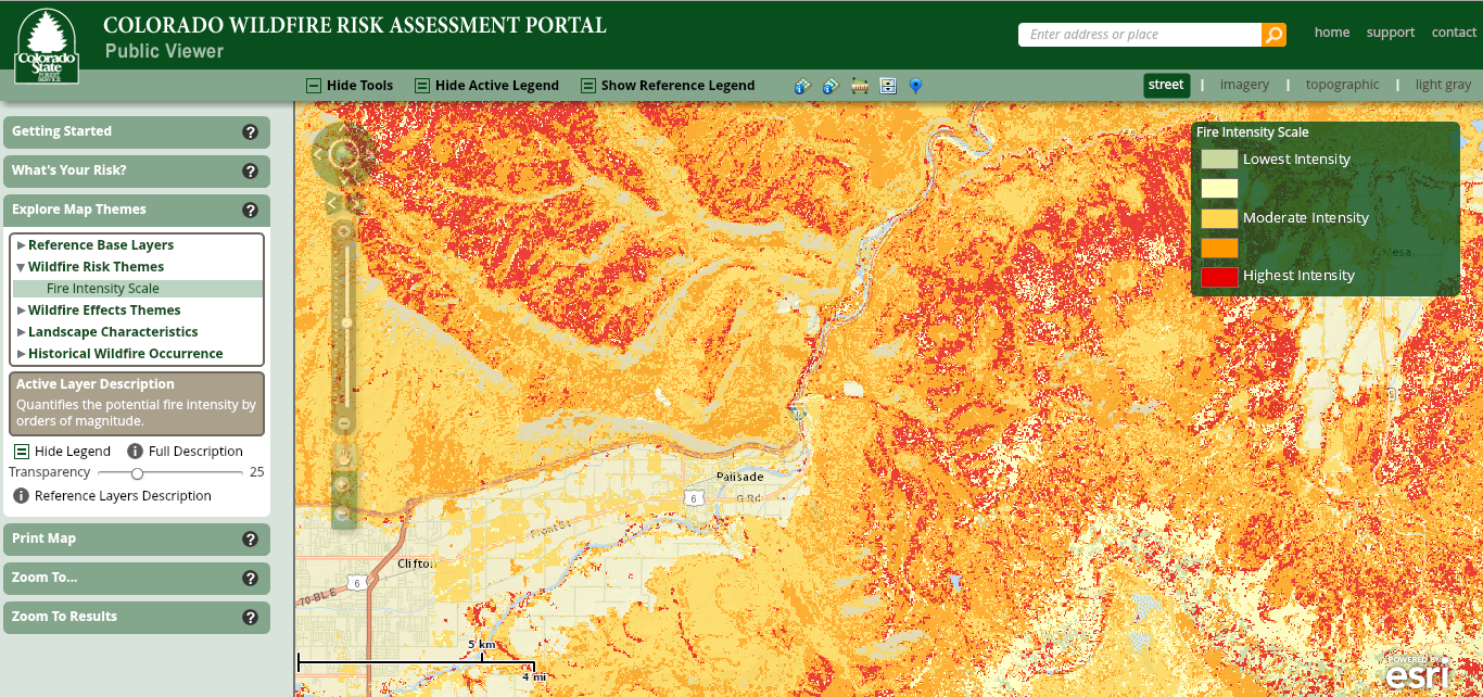 Colorado Wildfire Risk Assessment Portal (CO-WRAP) is a valuable tool for the Colorado State Forest Service (CSFS) to provide the public and government agencies with critical information to support wildfire mitigation efforts and better understand the risks they face from wildfire-related hazards. Example shown is from Palisade.