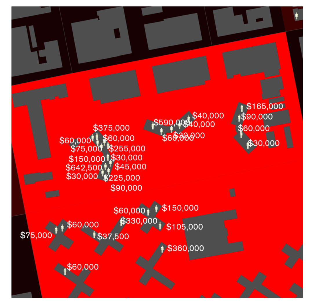 © Million Dollar Blocks highlighting prison expenditure across two blocks in Brownsville, Brooklyn, NYC, 2003. The data reveals 31 men across two blocks, and 4.4 million dollars spent