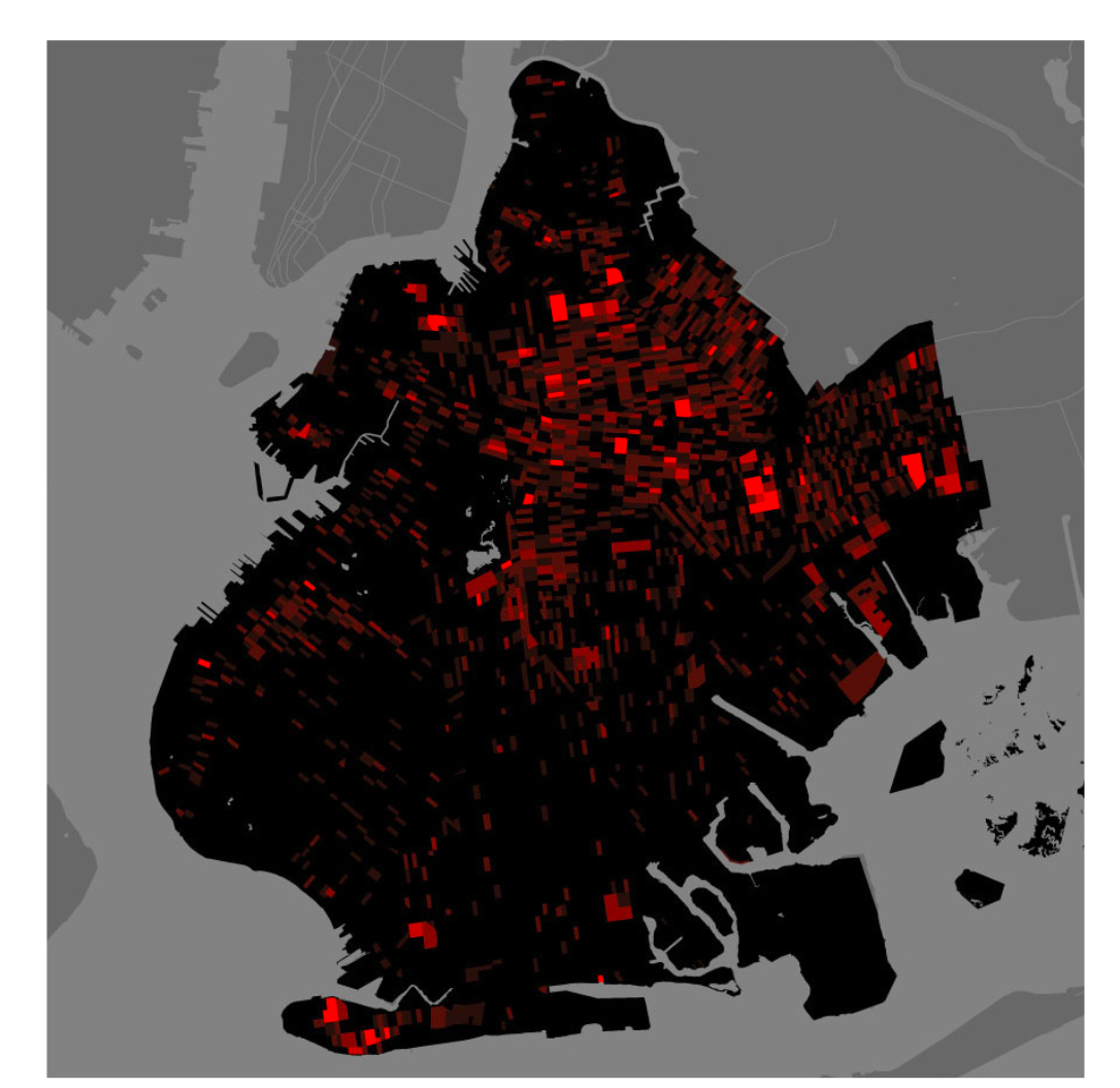 © Million Dollar Blocks  — Highlighting prison expenditure per block in Brooklyn, NYC, 2003, represented as dollars