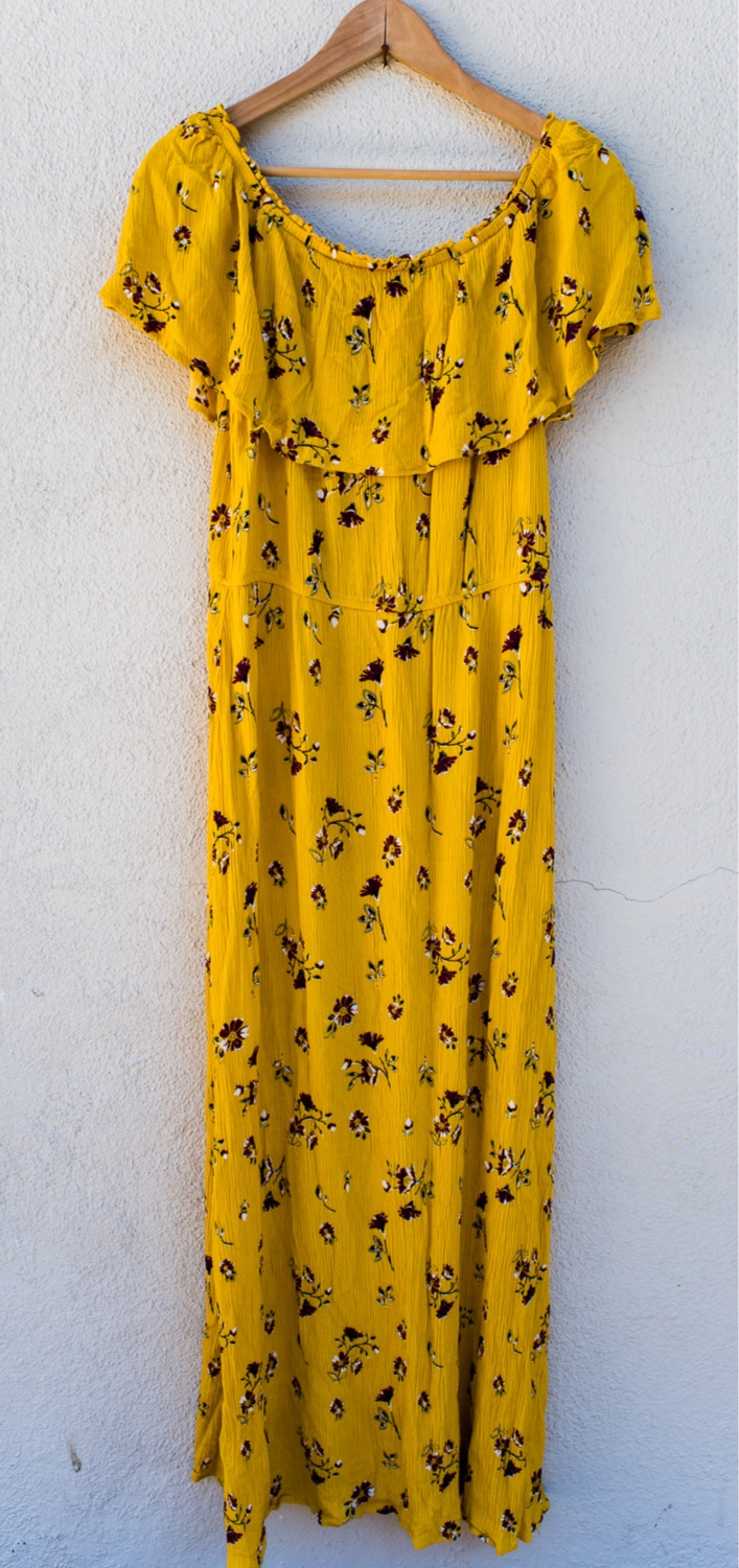 Yellow Floral Dress - Pink BlushSize LOff the ShoulderFull Length