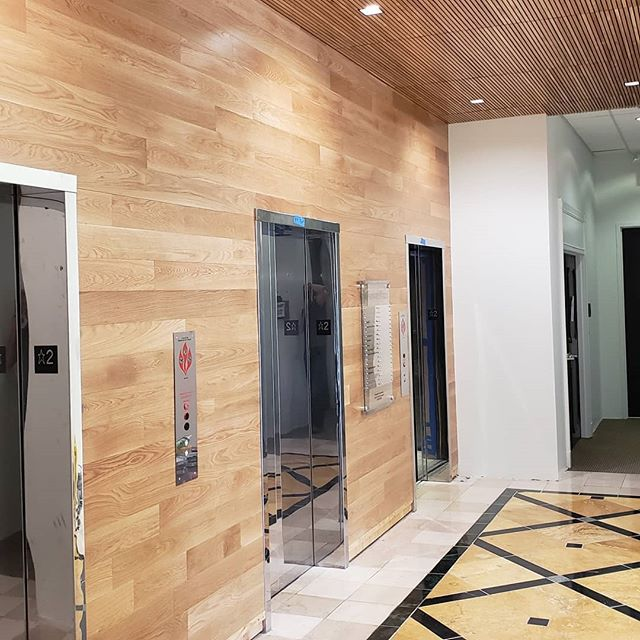 Finished up the Jefferson Plazza. We put up T&G on the walls and oak strips on the ceilings on three floors. #tongueandgroove #woodceiling #lobby #elevatorlobby #woodpaneling #mirrorselfie #tongueandgroovewalls #tongueandgrooveceiling