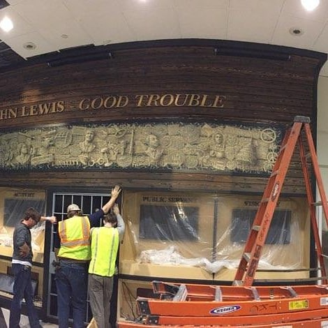 More on the John Lewis wall at Hartsfield Jackso airport.  #hartsfieldjackson #johnlewis #millwork #goodtrouble #install #remodel #TKC #atlairport #atl