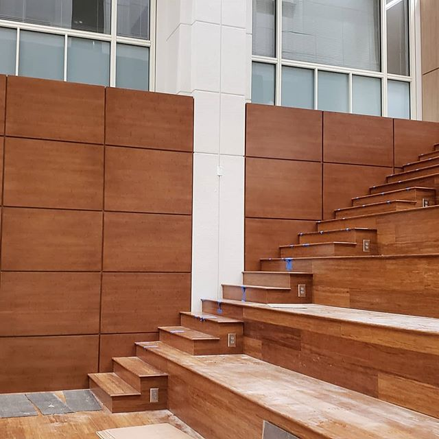 Finished the bamboo paneling at St. Joseph!  #bamboopanel #bamboowood #paneling #woodpaneling #stjosephhospital #millwork #monarchzclips