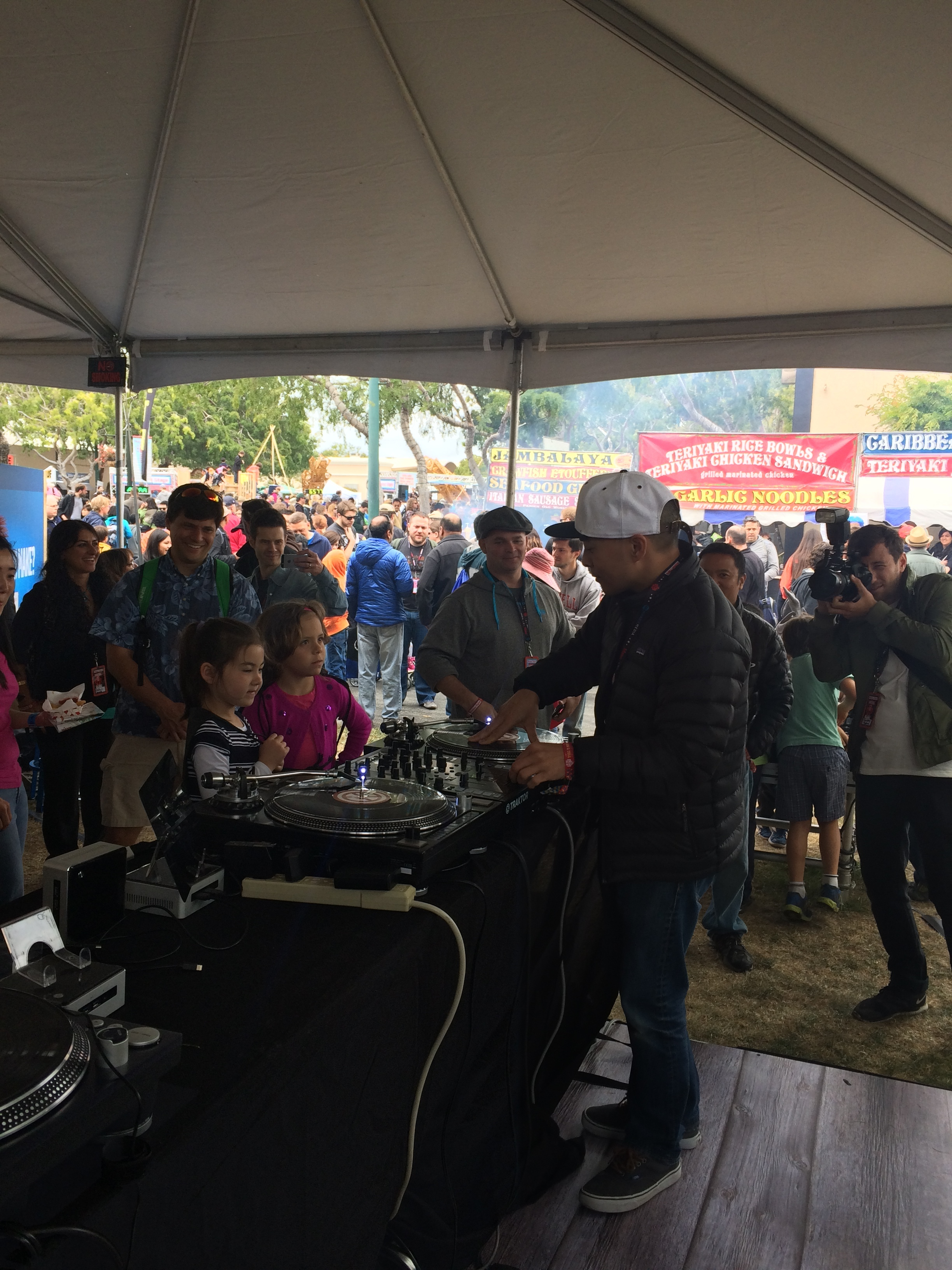 DJ QBert captivating the youth via turntable artistry at the Intel sponsered Makers Faire booth 2014.