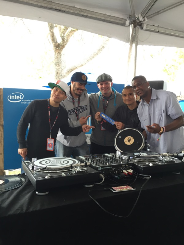 "Richard ""DJ QBert"" Quitevis , Richard ""HardRich"" Johnson, Scott Lopker (Intel), Ritchie ""YogaFrog"" Desuasido and Charles ""Spoon"" Spencer.  Intel/ThudRumble Booth Makers Faire 2014"