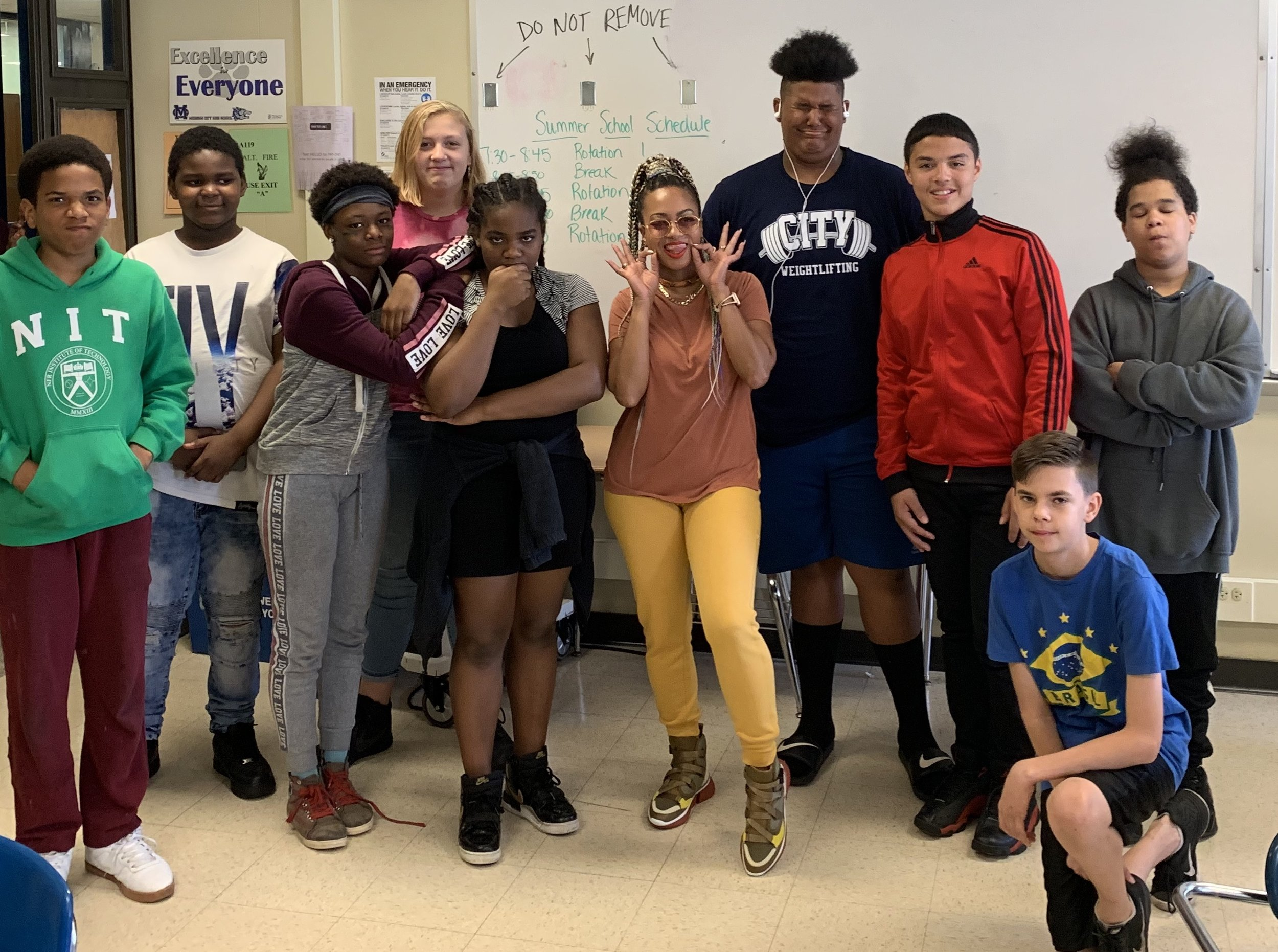 Mid-West City School District students with DJ Princess Cut (Hot 107.9 ATL, OWN Network, Oprah)