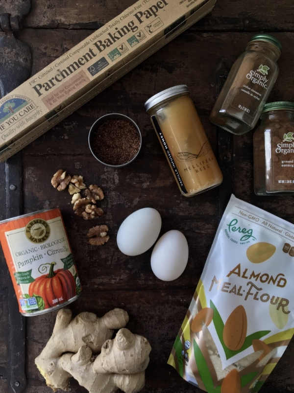 Ingredients featuring:  Simply Organic spices ,  If You Care parchment paper ,  Mellifera Bees local raw honey ,  Farmer's Market canned organic pumpkin  and  Pereg almond flour .
