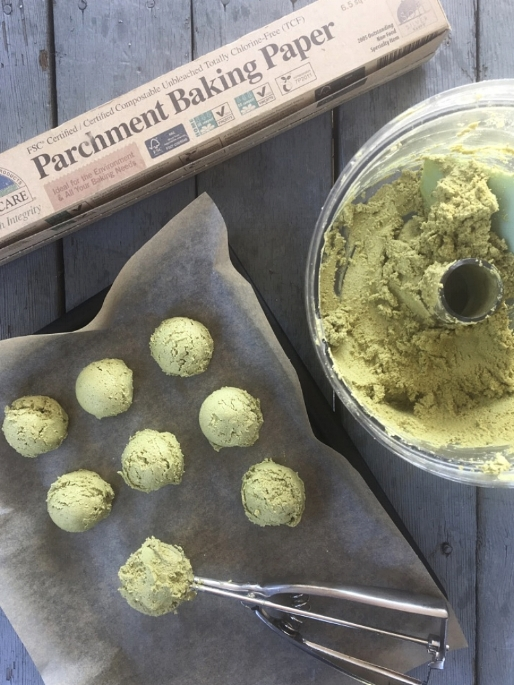 Image from first batch of truffles. Mixture too crumbly, not quite soft enough. See image below for a visual of how the truffle filling should look after mixing in food processor. If You Care Parchment Paper found here.
