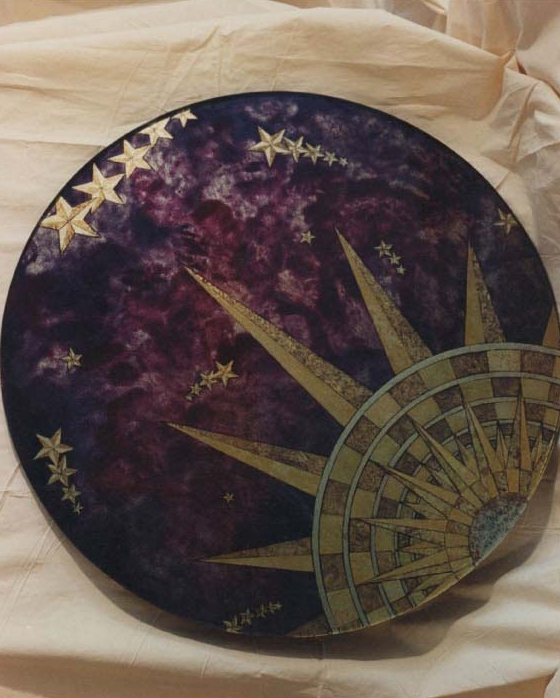 Star Table, Back Painted Glass