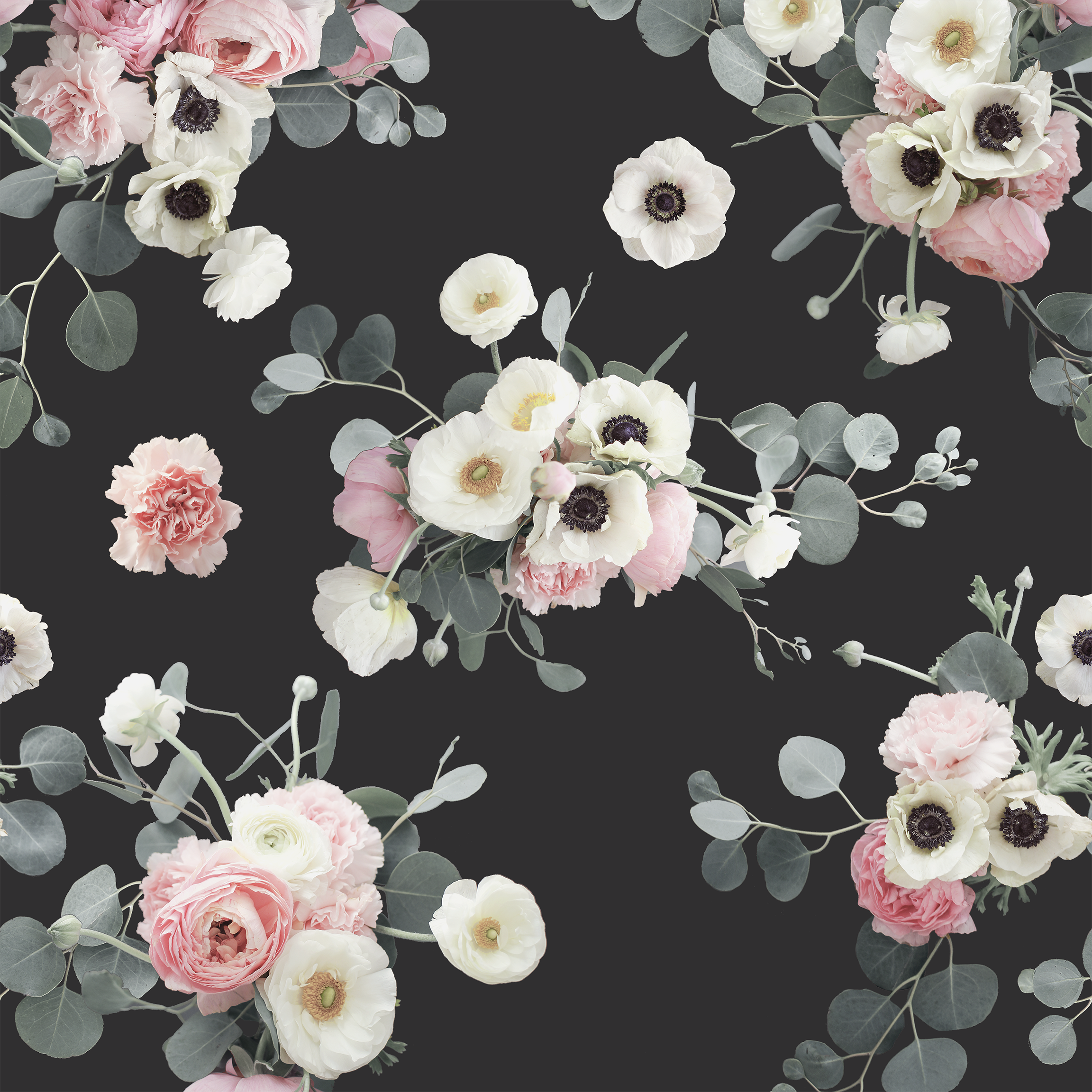 Midnight Floral Removable Fabric Wallpaper Peel And Stick