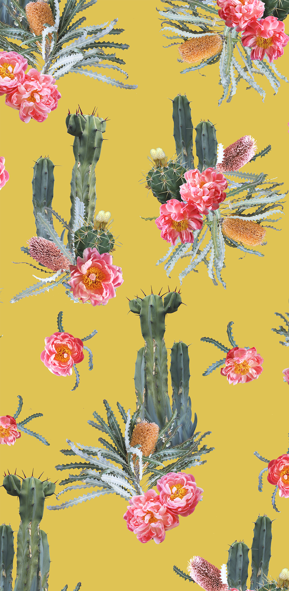 Tropic Cacti Removable Fabric Wallpaper Peel And Stick