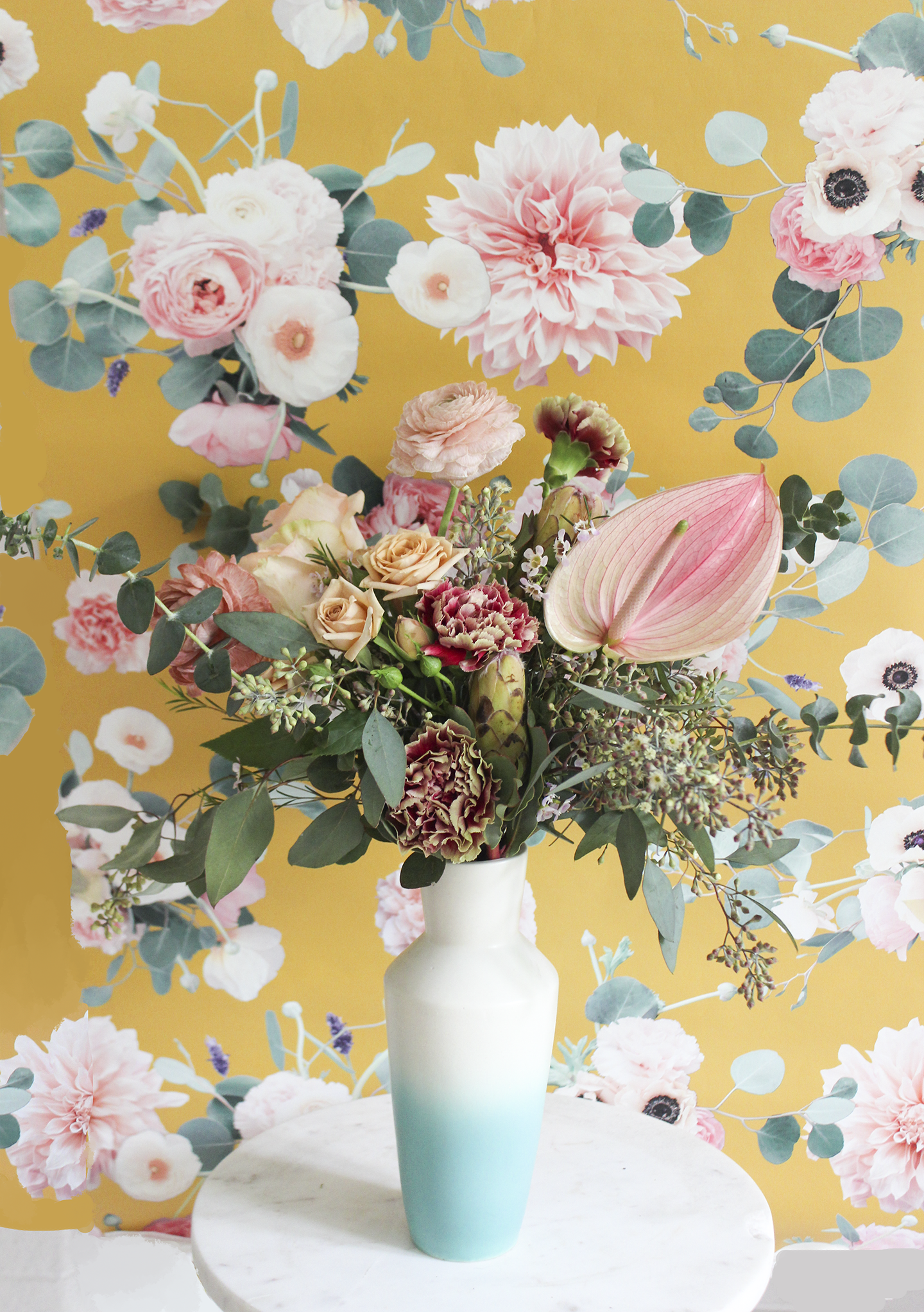 Sunrise Floral Removable Fabric Wallpaper Peel And Stick
