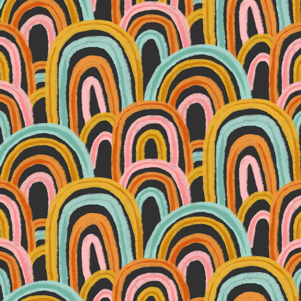 Rainbow Fingerpaint website black pink teal mustard orange