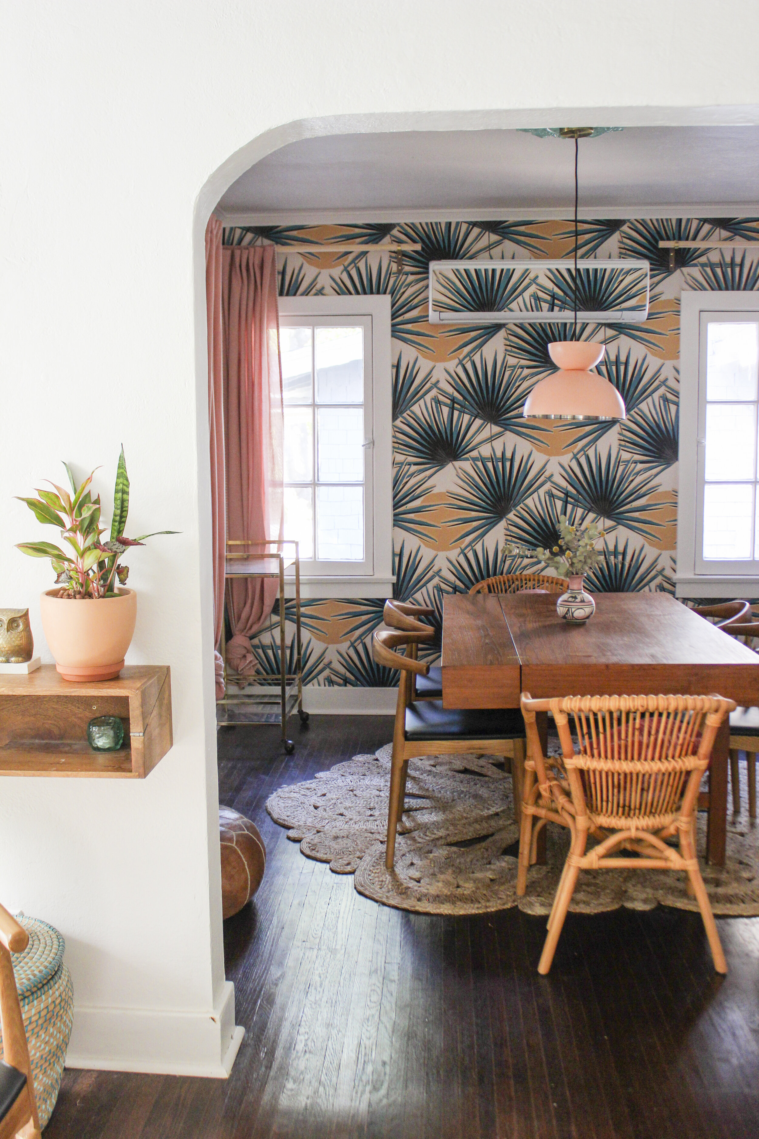 See my dinning room Weekend Refresh for Tastemade Home! - featuring my Palm Deco wallpaper and a few home hacks by me!