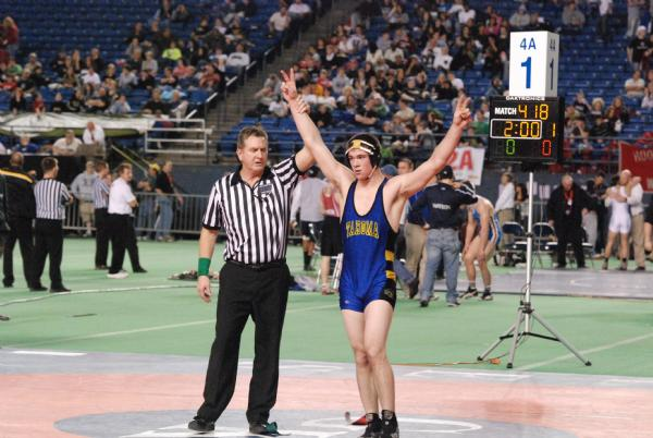 In 2008, Nick won the 160 pound weight class in dramatic fashion. Down by a point, Nick was able to secure a takedown with just two seconds left in the match. In 2009 Nick walked through the competition at 171 pounds securing his second state championship. In 2010, Nick accomplished his goals becoming the 4th Tahoma Bear to win 3 state titles. Nick easily defended his title at 189 pounds. His overall record for his four years as a Bear was 140-17.