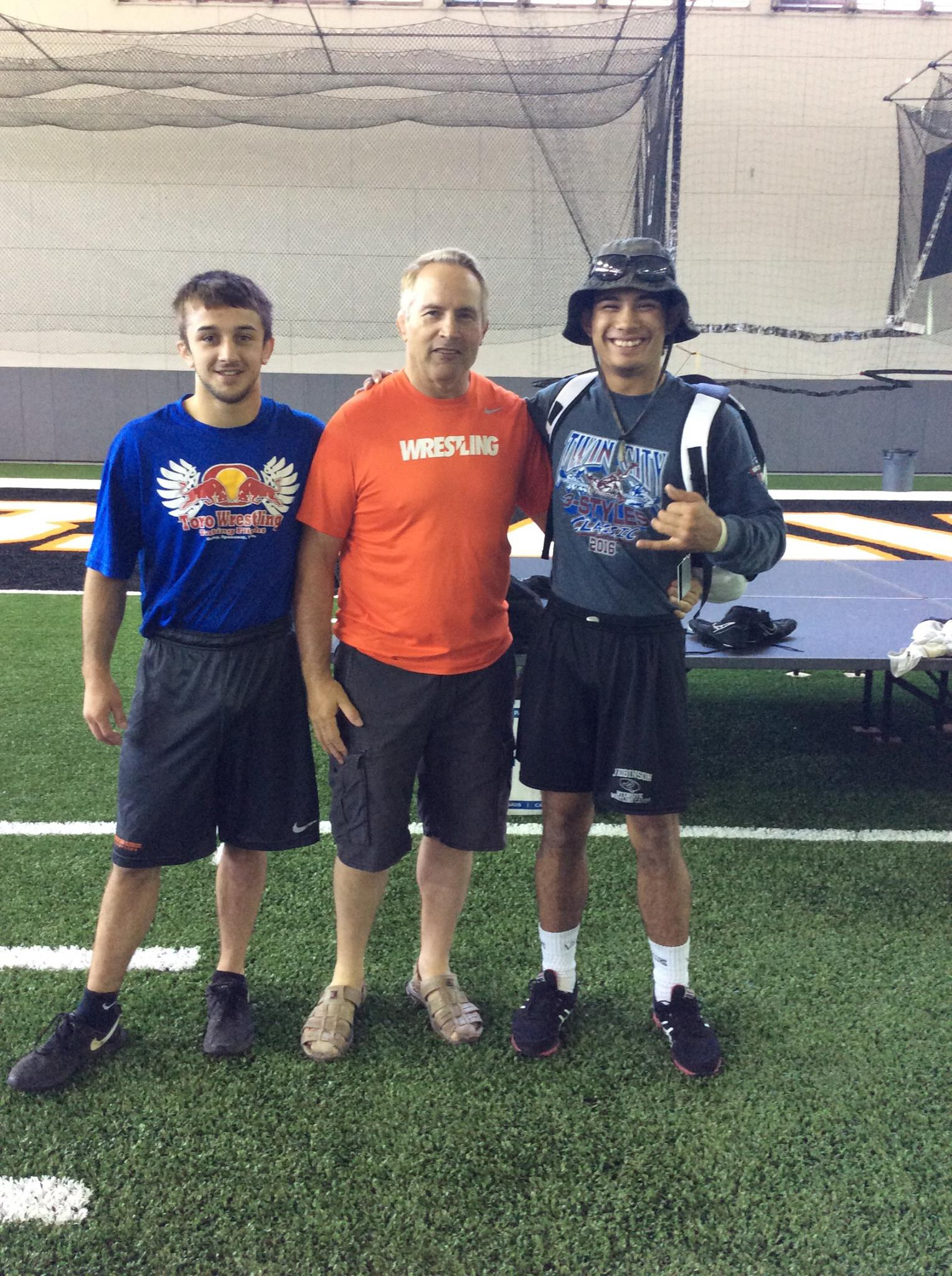 Ryden Fu with Oregon State Head Coach Jim Zalesky and Former Tahoma State Champion Joey Palmer