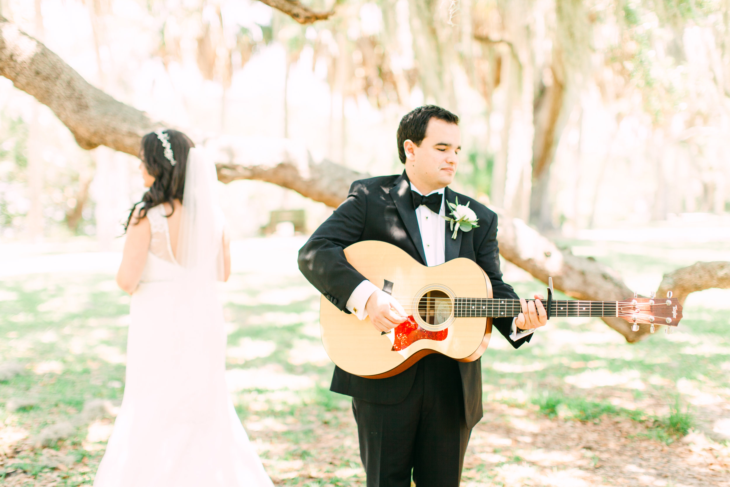 Get Creative - This couple not only did a first look, but the groom played their song right before they looked at each other. After the reveal, they read their vows in private!