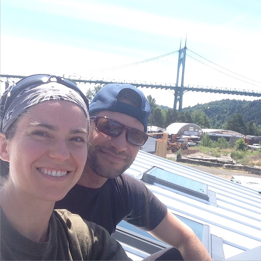Hanging out on the rooftop of our tiny house!