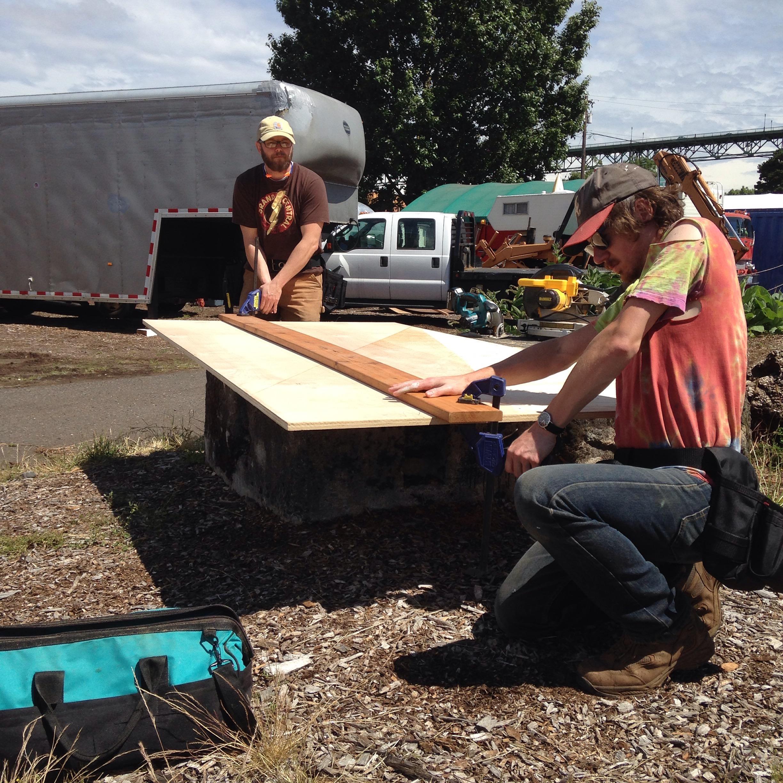 Robb & Chris Cutting Loft Floor