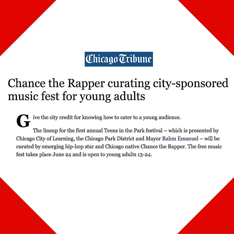 June 10, 2016 - Chicago Tribune Placement for Teens in the Park