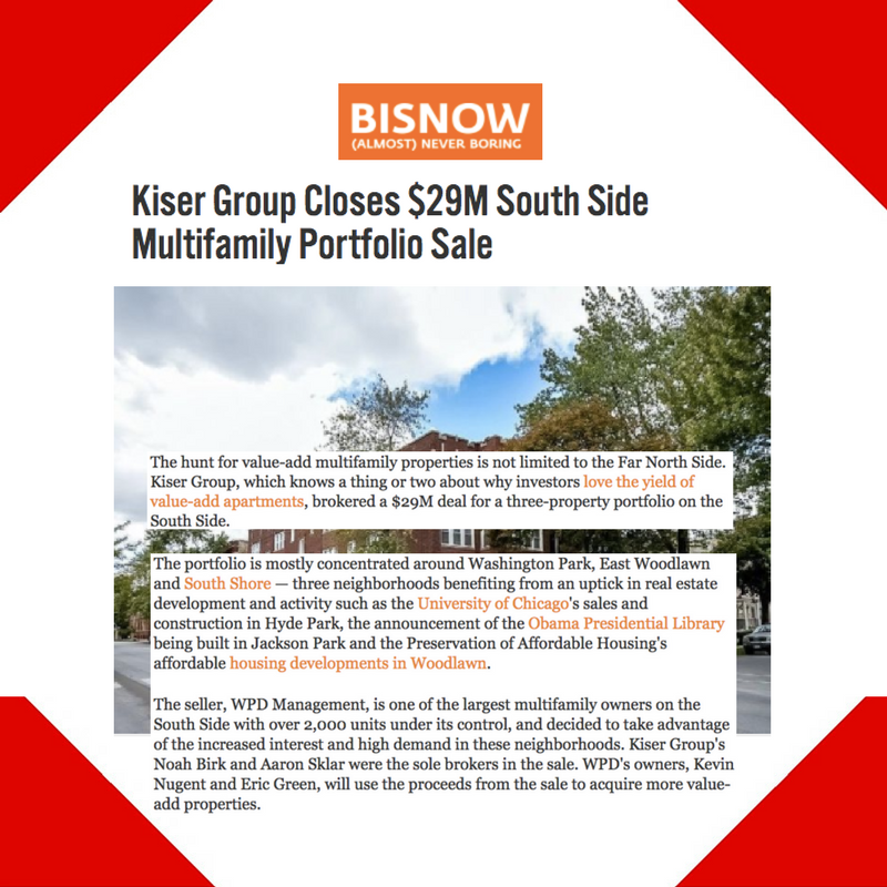 May 24, 2017 - Bisnow Placement for Kiser Group