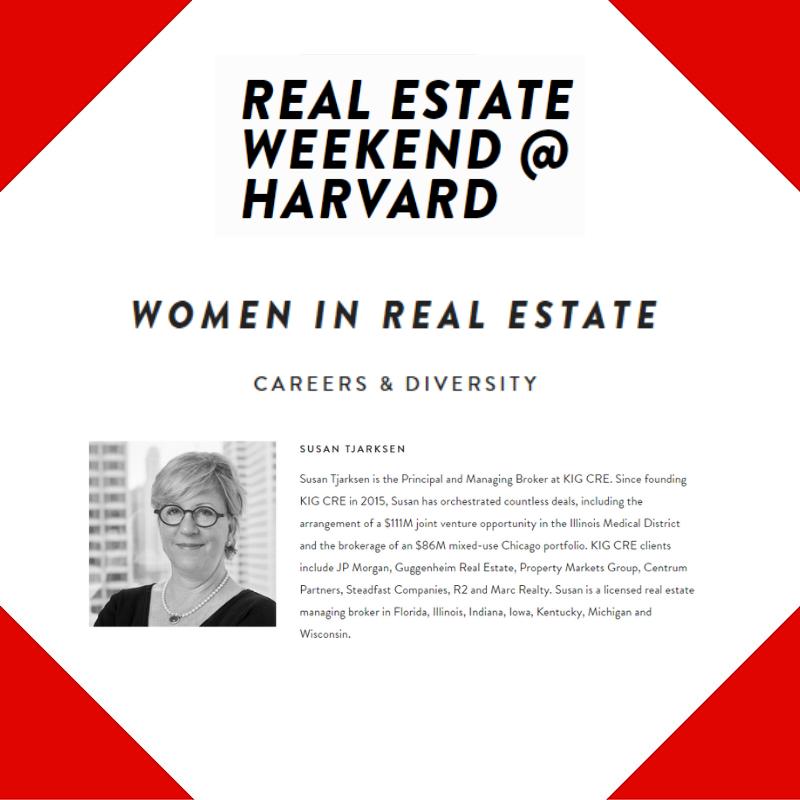 Securing Panel Seat for KIG CRE's Susan Tjarksen at Harvard's Real Estate Weekend