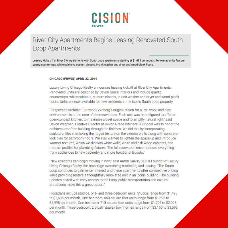 Press Release Distribution for River City Apartments